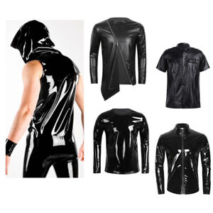 Men-039-s-Latex-Leather-Vest-Tops-T-Shirt-Gym-Muscle-Crop-Top-Undershirt-Clubwear