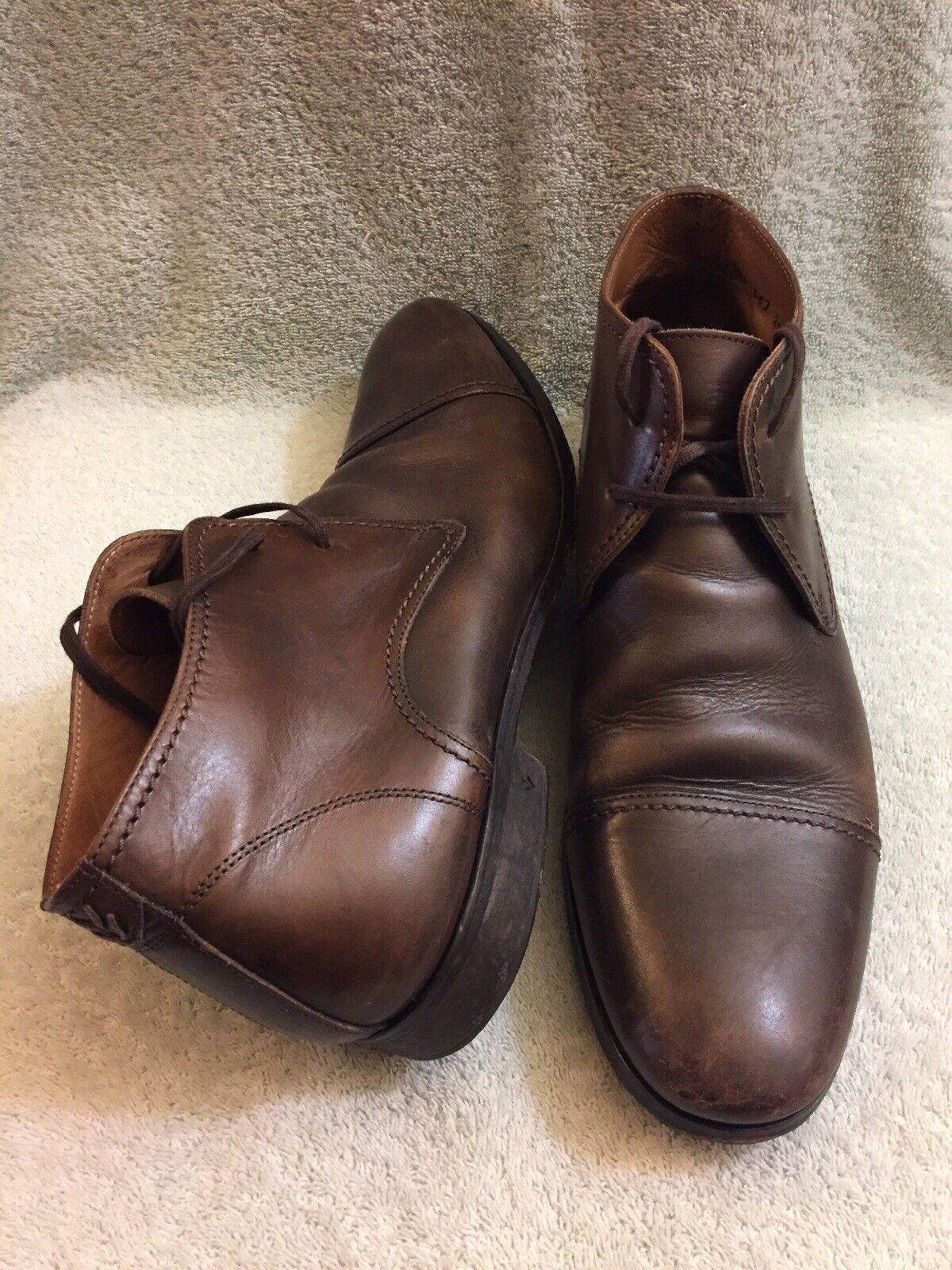 John Varvatos Cuero Con Cordones botas captoe hecho a mano en Italia Marrón