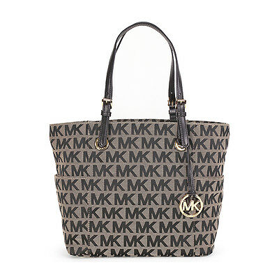 Michael Kors Jet Set Monogram Signature Logo Tote in Beige and Black