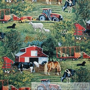 BonEful-Fabric-FQ-Cotton-Quilt-Farm-Tractor-Red-Barn-Animal-Sheep-Scenic-Hay-Dog