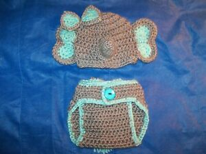 Amazon.com: Crochet Baby Elephant Hat and Diaper Cover Set - Baby ... | 225x300