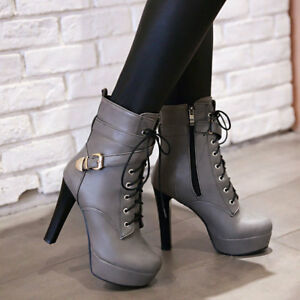 Womens-Block-High-Heel-Lace-Up-Platform-Party-Shoes-Zipper-Riding-Ankle-Boots-Sz