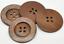 5 Stück Holzknöpfe Muster 60mm rund kaffeebraun Knopf Knöpfe Bastelknöpfe wood