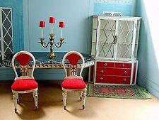 VINTAGE PETITE PRINCESS DOLLHOUSE MINIATURE DINING ROOM TABLE CHAIR CABINET RUG