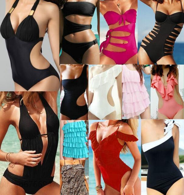 Sexy Push-up Padded Halter Monokini One Piece Bikini Swimsuit Beachwear Swimwear