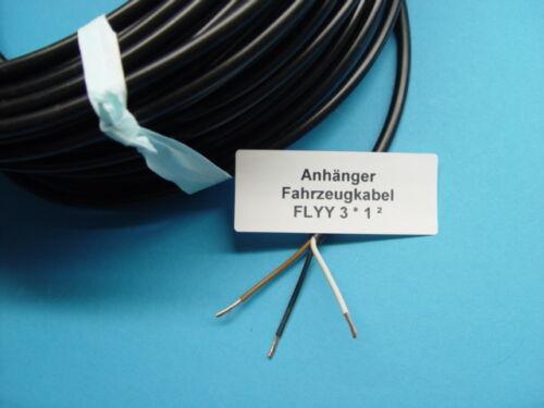 FLYY 3x1,0² mm Fahrzeug Kabel Schwarz für Anhänger Trailer Landmaschinen L0301