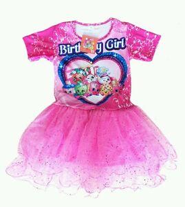glittery sparkly shopkins tutu birthday girl print pink party dress