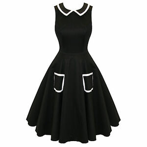 Hearts-and-Roses-London-Black-Flare-50s-Style-Vintage-Party-Prom-Swing-Dress-UK