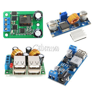 4-USB Port// XL4015 DC-DC 12V//24V to 5V 5A Buck Converter Power Supply Step Down