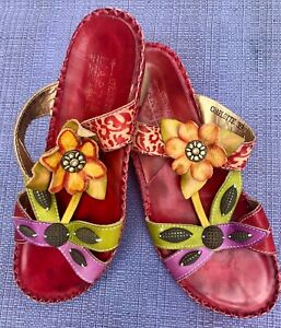 L-039-ARTISTE-by-SPRING-STEP-CHARLOTTE-WOMEN-039-S-RED-BOHO-LEATHER-WEDGE-SANDALS-39