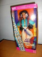 Mattel Special Edition Barbie 1993 Dolls of the World 12 Inch Doll Collection - Second Edition Native American Barbie Doll with Native American Dress, Boots, Ring, Earrings, Brush and Doll Stand Toys
