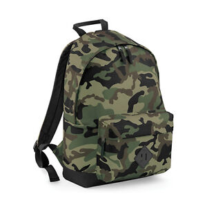 496cace84b Image is loading CAMO-ARMY-BACKPACK-SCHOOL -COLLEGE-PLAIN-PERSONALISED-CHOICE-