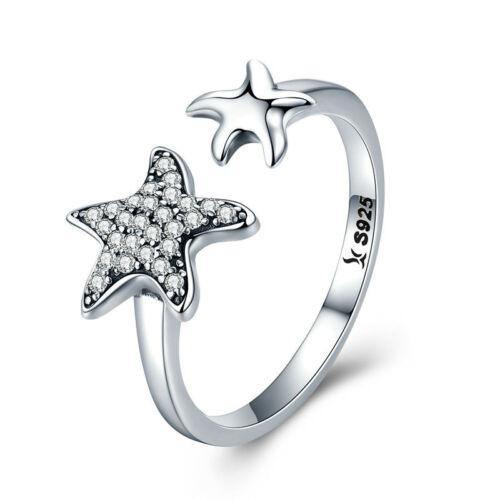Argent Sterling 925 Plage Étoile de mer Couple Fashion Ring Wrap Toe Bande Réglable