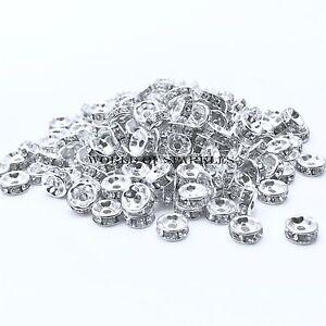 Rhinestone-Shamballa-Beads-Spacers-Rondelle-Bracelet-Necklace-Watch