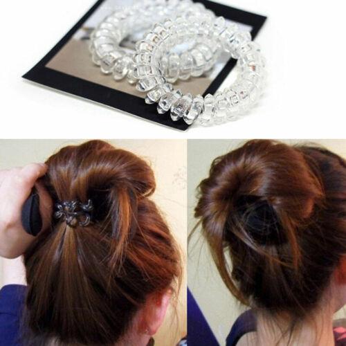 X6T3 3× Haargummis XL Kunststoff Elastisch Haarband Armband Telefon  Kabel Klar