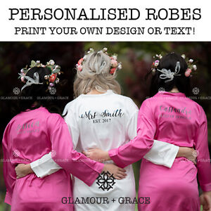 a85a874d8c372 Image is loading PERSONALISED-Custom-Printed-Bridal-Satin-Robe-Bride- Dressing-