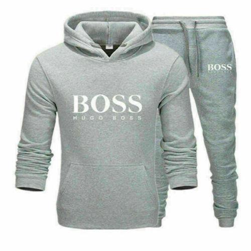 2pcs Sportsuit Mens Hoodies Jogging Pants Tracksuit Set T-Shirt Running Bottoms