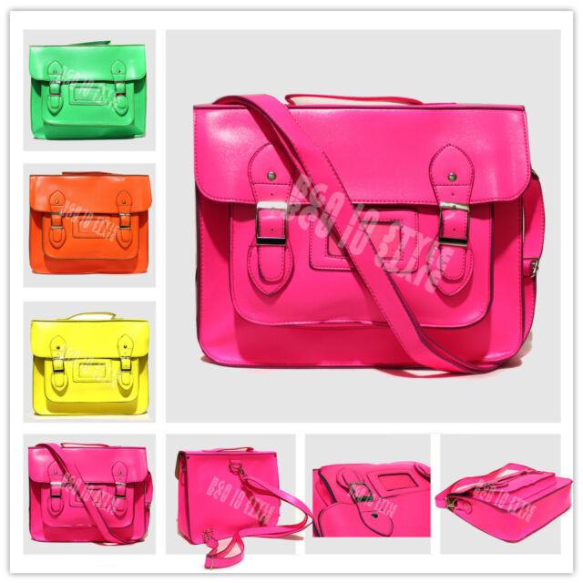 New Ladies Women Girls Neon Colour Satchel Rucksack Back Pack College Bag