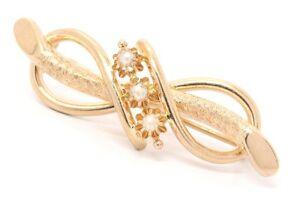 750er-18kt-antike-Rose-Gold-Brosche-Anstecknadel-Nadel-Perlenbrosche-Perle