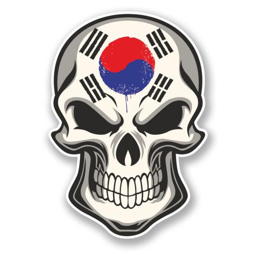 2 x 10 cm Autocollant Vinyle Drapeau Corée Autocollant Crâne Voiture Portable Vélo coréen COOL # 5855