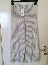 Zara Ecru White Black Striped Wide Leg Cropped Trousers Culottes Size M, Uk10