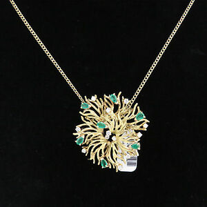 4e52e021ca0e7 Details about NYJEWEL 18k 10k Gold New Floral 2.75ct Emerald Diamond Pin  Brooch Necklace