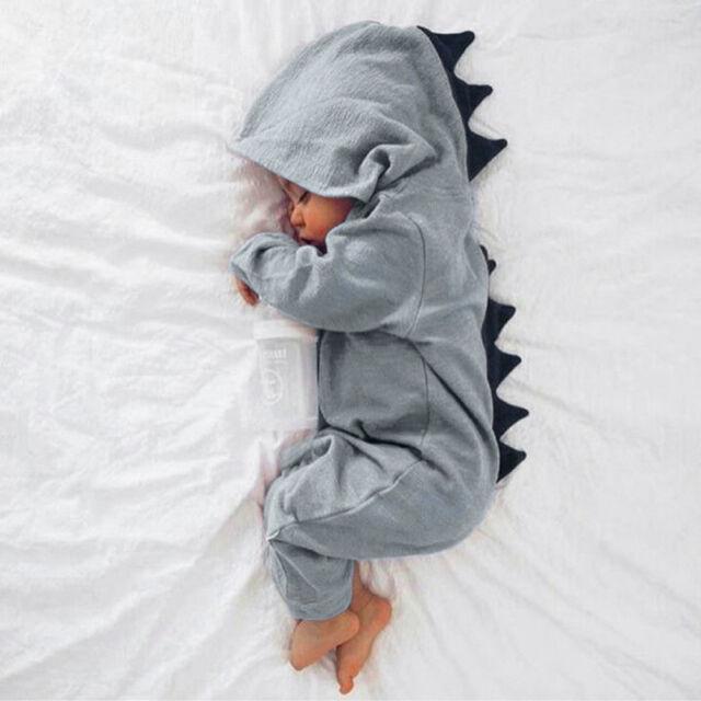 ac6e05955 Newborn Infant Baby Boy Girl Kids Dinosaur Hooded Romper Jumpsuit ...