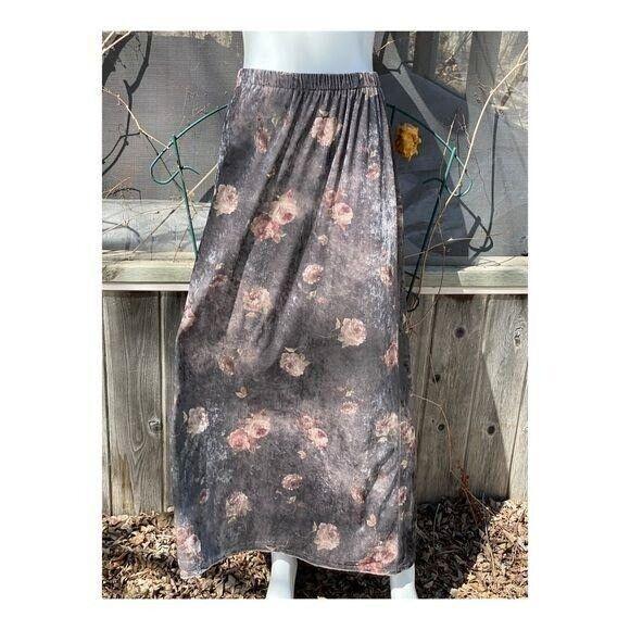 Vintage 90s Velvet Maxi Skirt Floral Cottagecore … - image 3