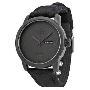 NEW-Citizen-Men-039-s-Black-Canvas-Eco-Drive-Watch-BM8475-00F