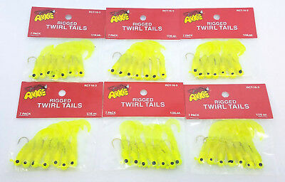 6 PACKS OF ARKIE RIGGED TWIRL TAIL GRUBS 1//16OZ CHARTREUSE 7 PER PACK RCT-16-3