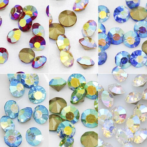 Ss12 ss16 ss22 ss27 Color Aurora Boreal punto atrás Joyas de Cristal Vidrio Nail Art Rhinestone