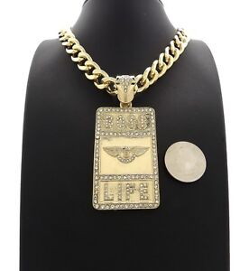 Mens Hip Hop Iced Star of David Pendant 11mm Cuban Link Chain 14k Gold Plated