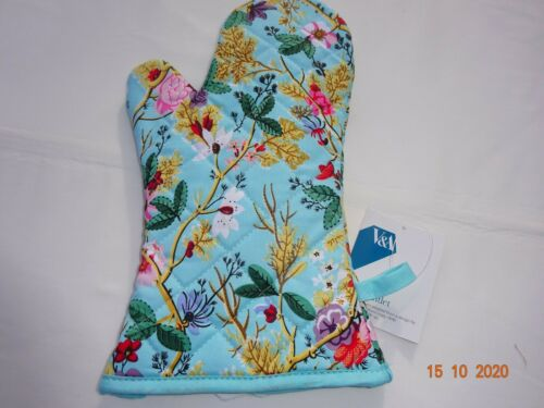 V /& A Collection Blue Chintz Double Oven Glove or Single Oven Mitt//Gauntlet