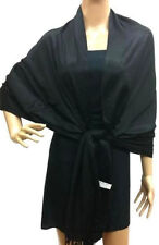 Soft Elegant Black Plain Solid Evening Shawl Wrap 55% Pashmina 45% Silk Scarf