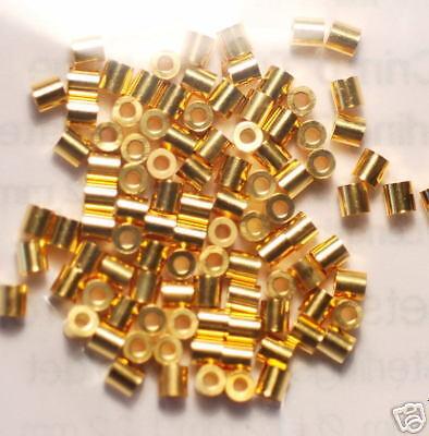 Quetschröhrchen fondos 1,0mm 925er plata dorado 10x