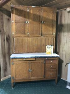 Sale Antique Oak Hoosier Cabinet With Flour Sifter Ebay