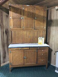 Details About Antique Oak Hoosier Cabinet With Flour Sifter