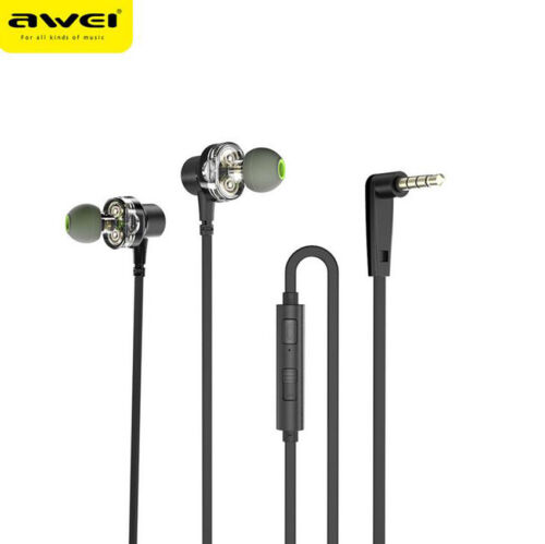 Awei Z1 Wired Earphone Dual Driver Headset Sport Bass Sound Earphones With Mic