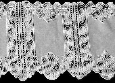 Leinen weiß Scheibengardine Panneaux Querbehang  Häkelspitze 30 x 145 cm