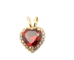 14k Yellow gold Birthstone and Cubic Zirconia 7mm Heart Halo Pendant