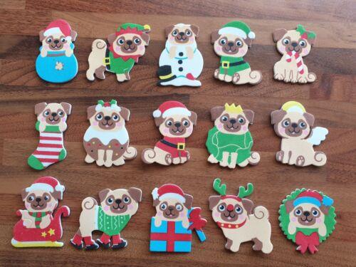 Pug dog  Christmas stickers card making /& crafts Elf Santa Stocking Pudding