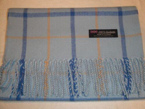 100/% Cashmere Scarf Soft 72X12 Blue Camel Check Plaid Scotland Wool Z84 Unisex