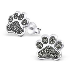 Sterling Silver 925 Dog / Cat Paw Crystal Stud Earrings - Grey
