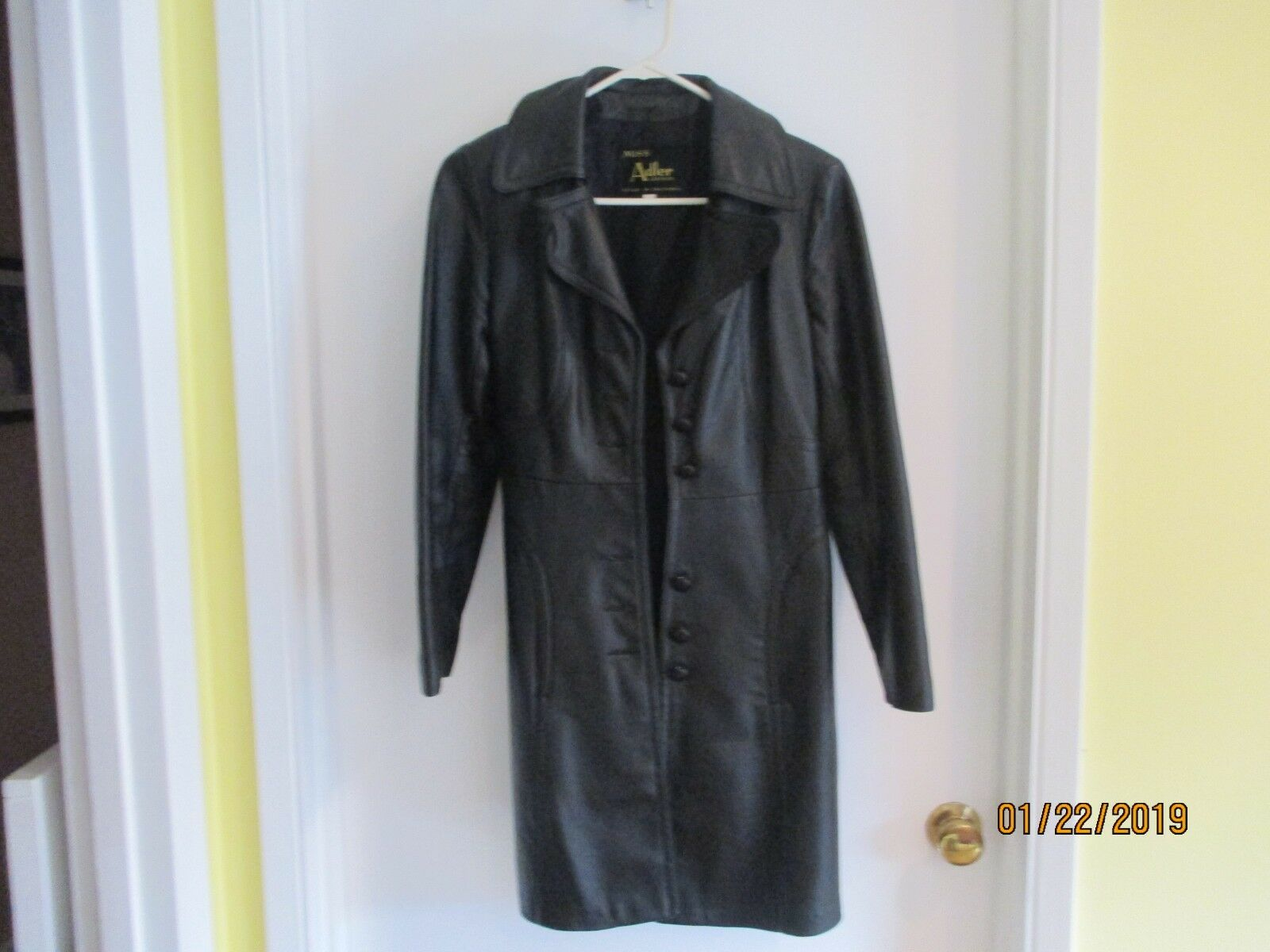 ADLER COLLECTION LADIES LEATHER COAT W BELT -SIZE 10 - EXCELLENT - FREE SHIPPING