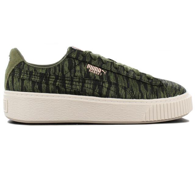 Puma Basket Platform VR Women's Sneaker Shoes Olive Green 364092 01 Trainers New