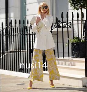 veredicto construcción Padre fage  Nuevo Mujer Estampado Cachemir ZARA Palazzo Pantalones Pantalón Amarillo  XS-XL 2809/831 | eBay