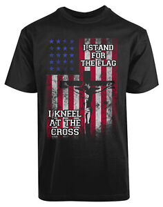 I-Stand-For-The-Flag-I-Kneel-At-The-Cross-New-Men-039-s-Shirt-American-Flag-Top-Tees