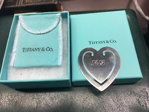 Tiffany-amp-Co-925-VINTAGE-HEART-BOOKMARK-Sterling-Silver-with-Box-amp-Bag
