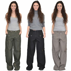 e3d0ca226c New Ladies Womens Baggy Wide Leg Loose Lightweight Combat Trousers ...