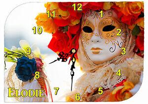 Adroit Horloge Pendule Murale Venise Carnaval Personnalisée Prénom Au Choix Réf F 41 Belle En Couleur